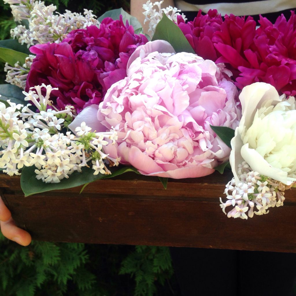 An elegant centrepiece with peonies and lilacs, perfect for a spring wedding or dinner party