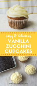 I was tired of the usual chocolate zucchini cupcake recipe, so I whipped up this easy white version instead. It's healthier than a regular cupcake, which makes up for the buttercream frosting, amirite?