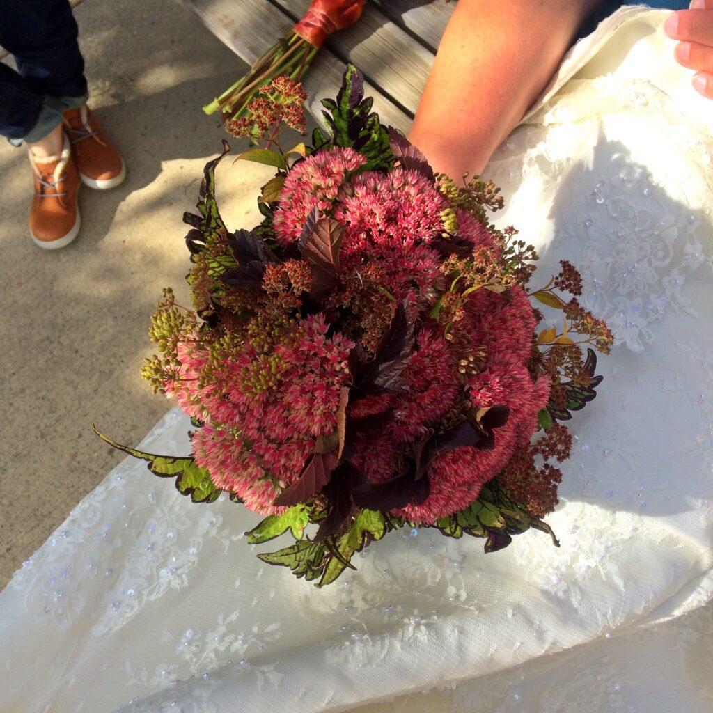 Autumn Bridal Bouquet, sedum, DIY flowers, bride