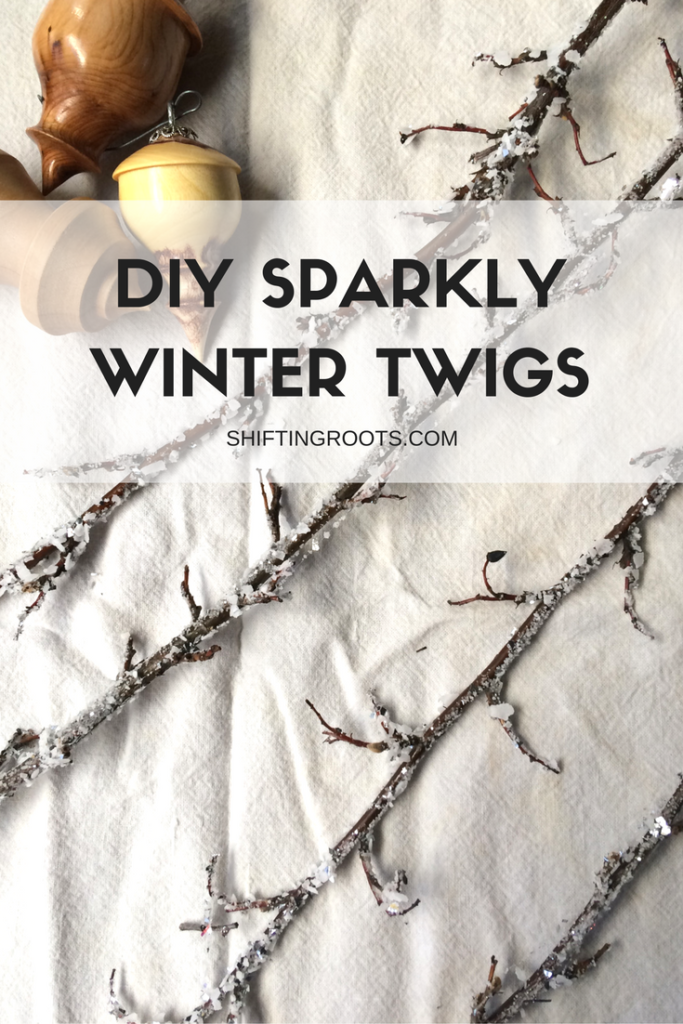 DIY sparkly winter twigs that you can make with just salt, sparkles, and glue.