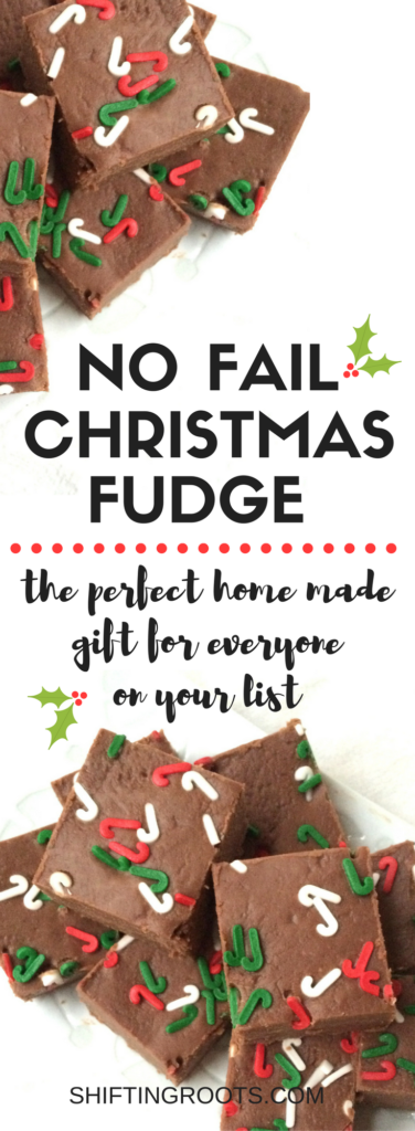 I've tried A LOT of fudge recipes over the years and none of them have really delivered. This recipe is easy, turns out perfect every time, freezes well, and is perfect for giving over the Christmas season. It's the perfect homemade gift for teachers, neighbours, and friends. #christmasbaking #lastmintuegift #homemadechristmasgift #homemade #nofailfudge #fudgerecipe