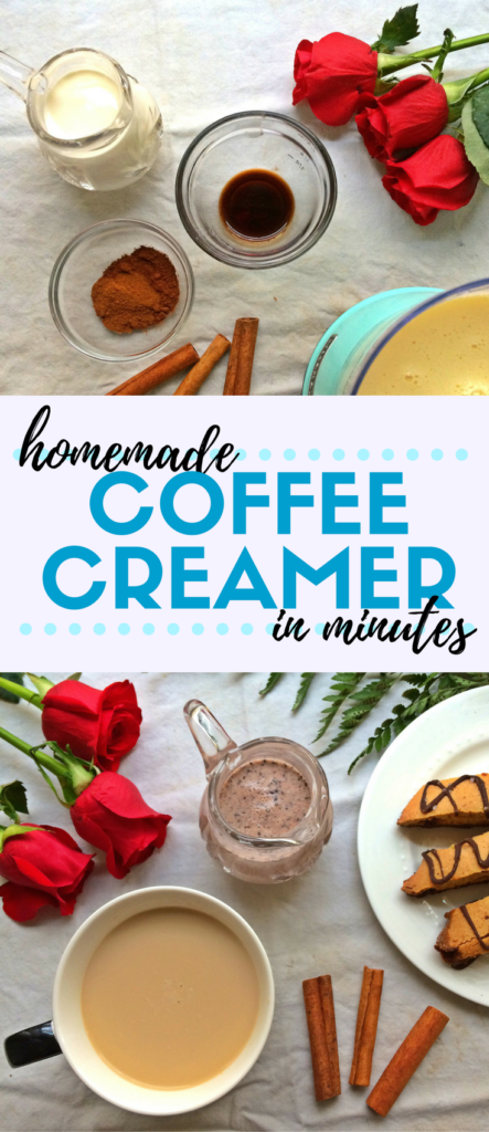 Ever wondered how to make homemade coffee creamer? It's so easy to make your own! Heavy cream (or evaporated milk), sweetened condensed milk, vanilla, and cinnamon come together to create a money-saving coffee creamer you'll want to make all the time. #homemadecoffeecreamer #coffee #coffeecreamer #homemade #moneysaving #frugal #coffeelover