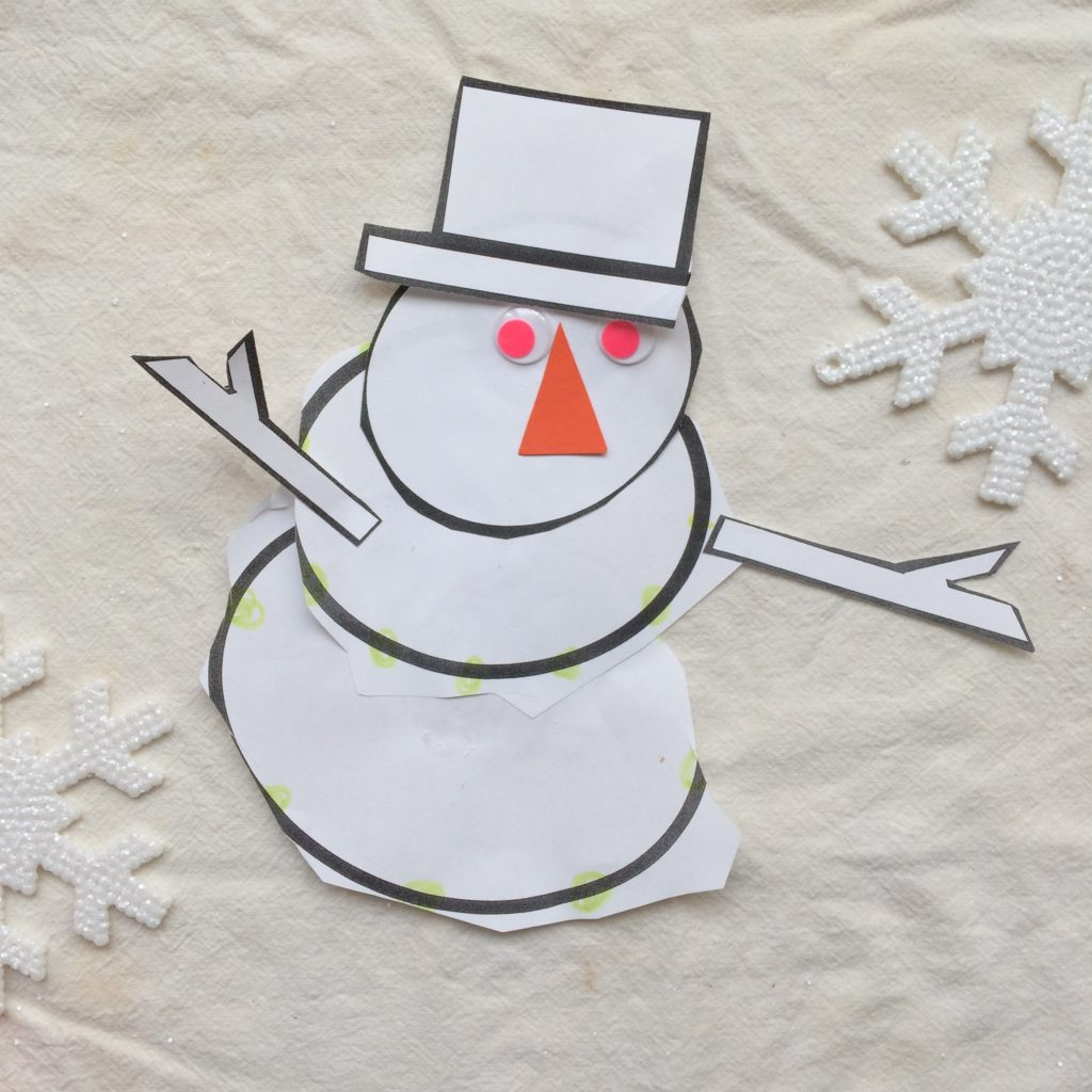 This snowman is a triumph.  Cutting is more of a complicated skill than you think, and Dominic hates crafts to boot.