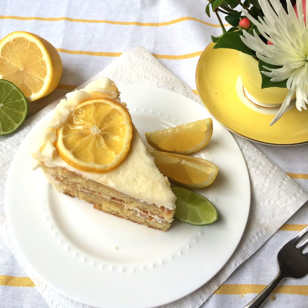 lemon cake with candied citrus and lemon buttercream