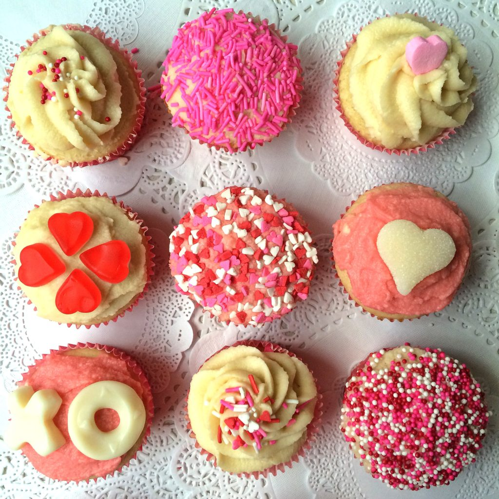 Valentines Day cupcake decorating