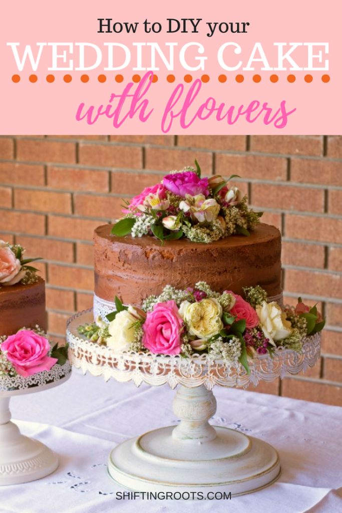 Keep your frugal wedding on budget with this easy DIY wedding cake decorated with fresh flowers.  An easy tutorial that even a beginner can do. #weddingcake #frugalwedding #diywedding #rusticwedding #diyweddingcake #freshflowers #cutflowers #easyweddingdiy