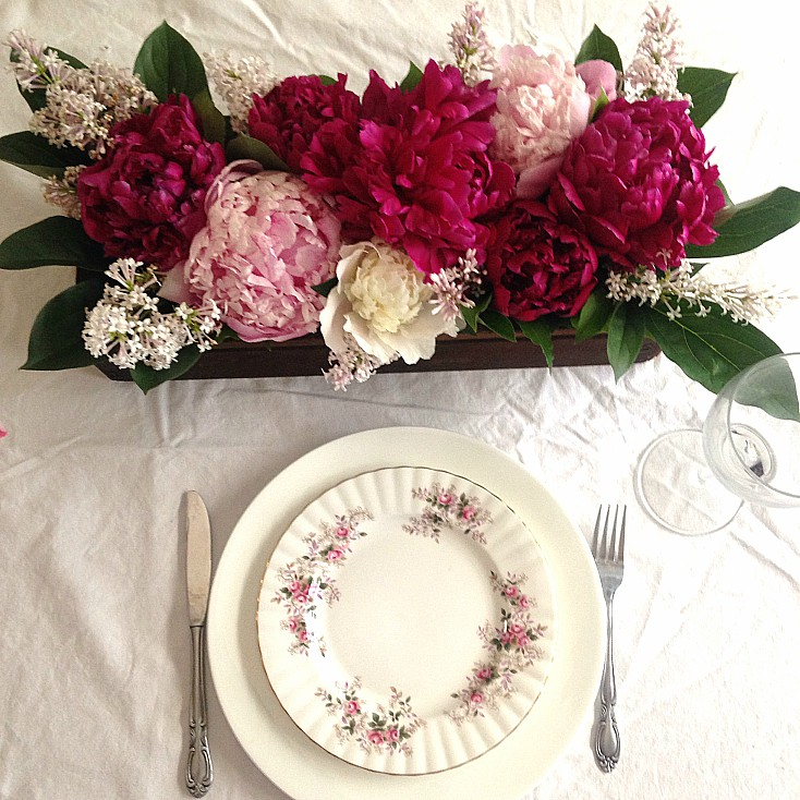 Peony arrangement perfect for a summer tablescape.