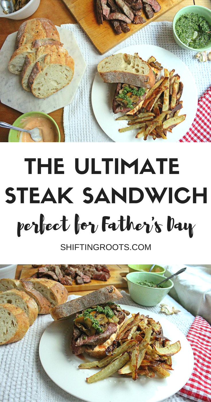A steak sandwich is the ultimate in lunchtime comfort food. We take ours to the next level with chimichurri sauce and sriracha mayo. Make this recipe to celebrate Father's Day, or any time you're craving steak for lunch or supper.