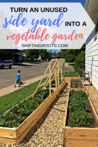 Corner lots are wonderful, but they come with the dreaded narrow side yard. If yours has full sun, you can easily turn it into a low maintenance raised bed vegetable garden. Here's how Sarah and Graham did it in their landscaping makeover. #sideyard #landscaping #ideas #garden #makeover