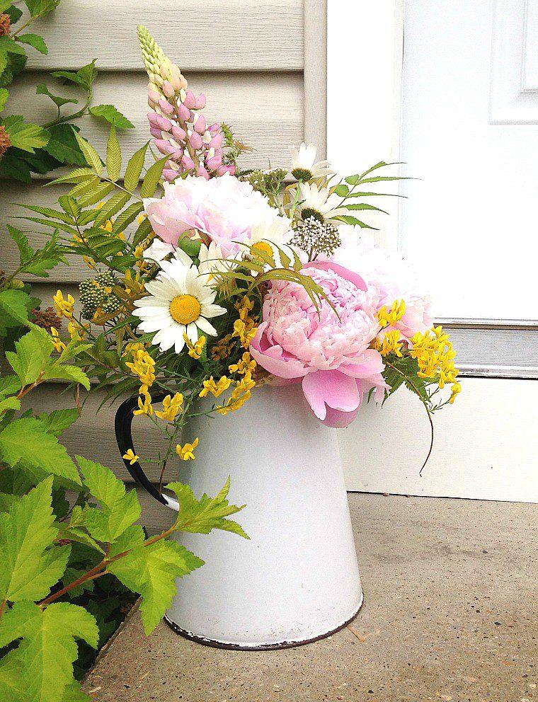 Farmhouse style peony arrangement