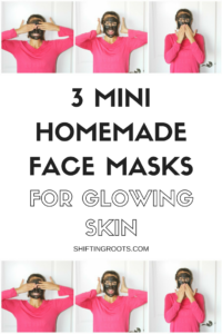 DIY Homemade mini face masks using charcoal, turmeric, and seaweed. Great for glowing skin!