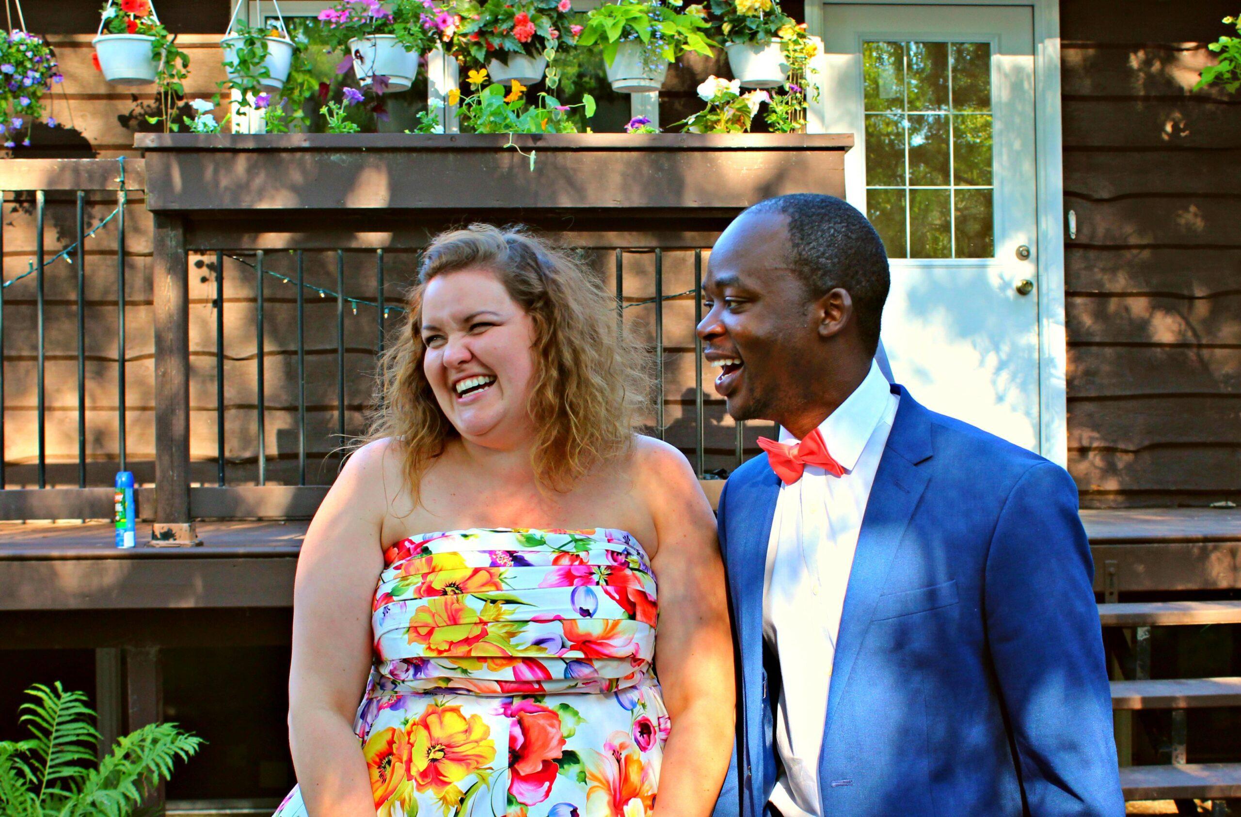 casual backyard wedding reception alexandra and carvil in canada
