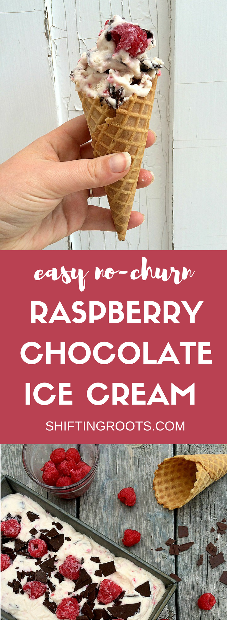 No churn raspberry chocolate ice cream is the perfect treat to beat the summer heat! An easy recipe you can make with your kids, after forcing them to pick berries with you.