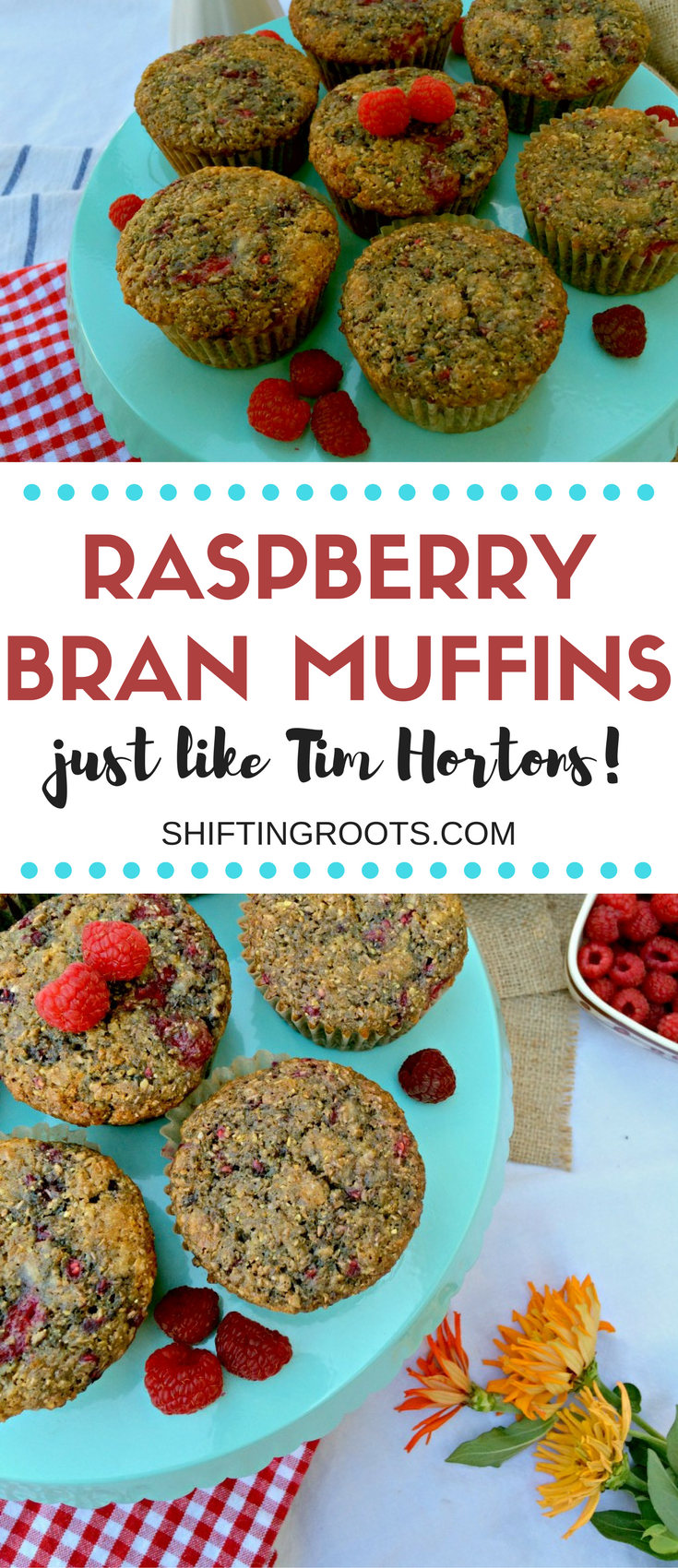 Every year I can't wait until Tim Hortons serves Raspberry Bran Muffins. They're my favourite! I developed this easy copycat recipe to fill the craving. Healthy, delicious, and perfect for snacks and back to school lunches.