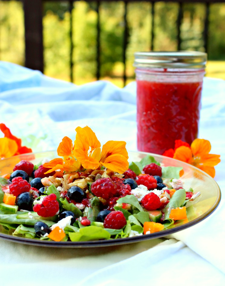 This summer salad recipe has the best of what's in season in August: raspberries, blueberries, lettuce, and cucumbers. Whip it up for lunch or dinner when you don't want to turn on