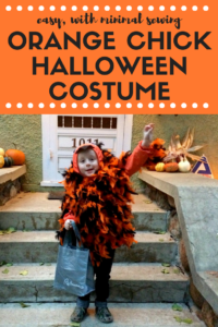 The most adorable, random Halloween costume for a toddler or preschooler boy or girl: the orange chick. It's easy to make with minimal sewing involved.