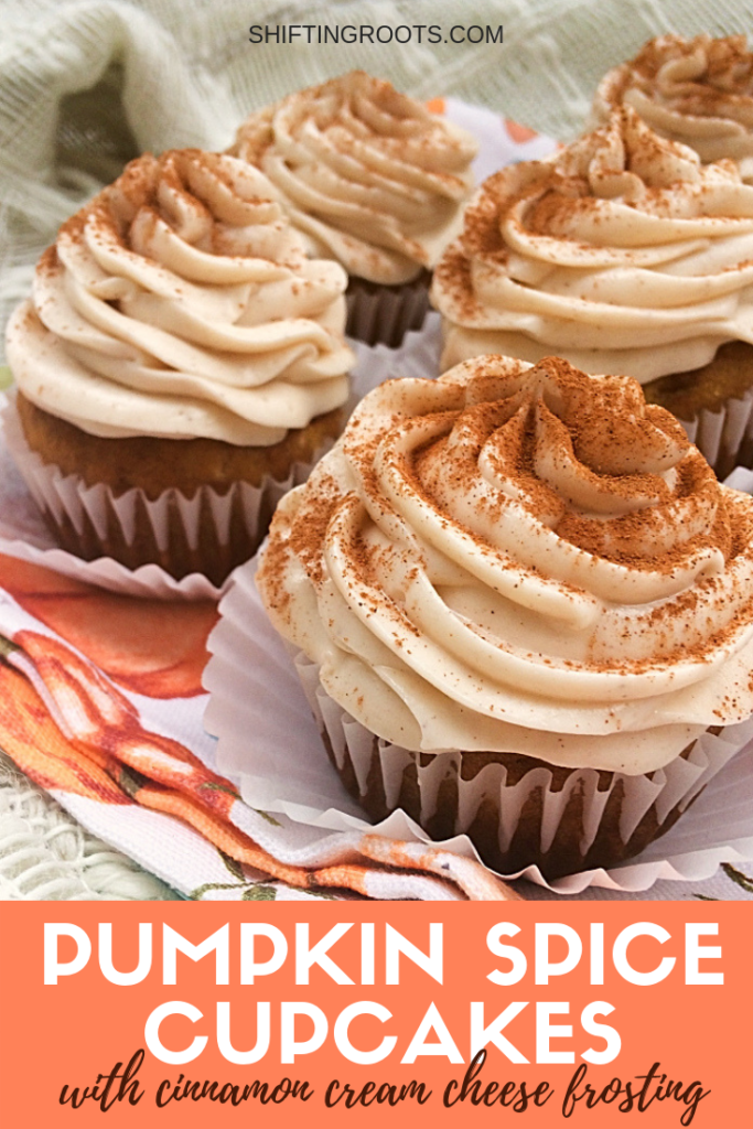 Aaaah!  These Pumpkin Spice Cupcakes with Cinnamon Cream Cheese Frosting are every basic girl's dream fall dessert recipe!  It's the best, easy, from scratch recipe for Halloween or thanksgiving.  I dare you not to lick the icing of these muffins!! #pumpkin #pumpkinspice #icing #frosting #creamcheese #cupcakes #muffins #easy #best #recipe #dessert #Thanksgiving #Halloween