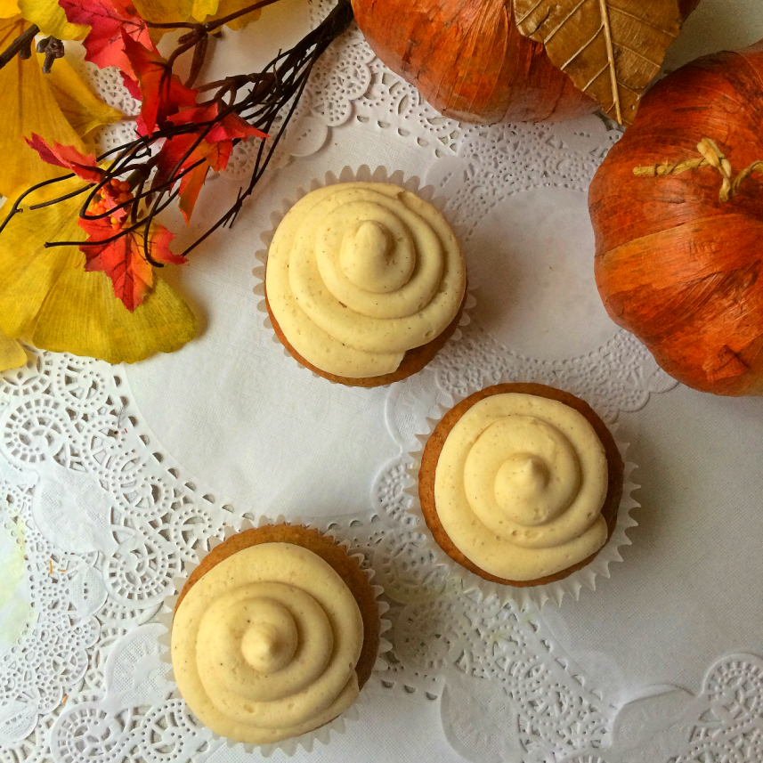 Capture the taste of Fall with Pumpkin Spice Cupcakes with Cinnamon Cream Cheese Icing.  It's an made-from-scratch spice cake that makes a delicious dessert for Halloween or Thanksgiving. #cupcakes #pumpkinspice #Halloweendessert #Thanksgivingdessert #cupcakerecipe