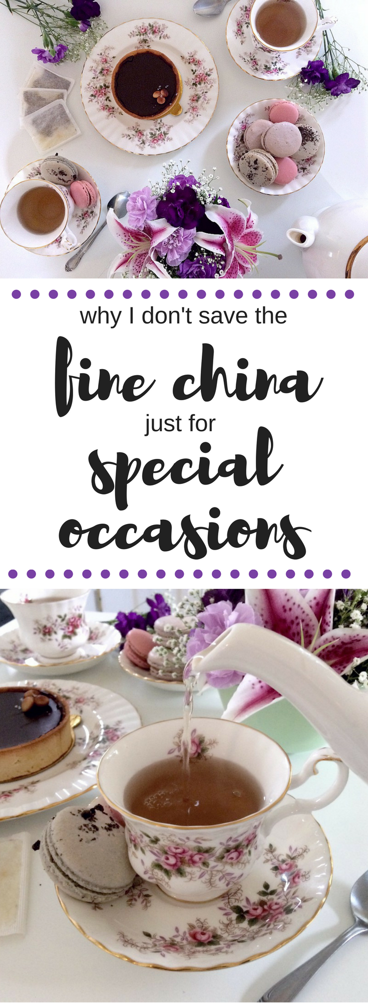 Don't save your fine china teacups for special occasions.  Use them everyday for tea parties with your friends and family. #sponsored #celestialseasonings #tea #tealover #royalalbert #finechina #bonechina #teaparty