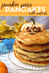 Mmm. . .these pumpkin spice pancakes with walnuts would make the perfect easy Thanksgiving breakfast or brunch recipe. They're healthy, vegetarian, and a delicious way to use up Bisquick and pumpkin puree. #pumpkin #pancakes #pumpkinspice #breakfast #brunch #healthy #easy #vegetarian