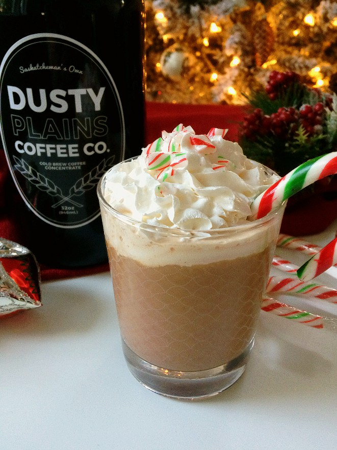 Cold brew coffee combines with candy canes, chocolate milk and whipped cream for a festive Christmas drink you're sure to love this holiday season. This version is non-alcoholic, but you could add a splash of rum or Baileys if you want.
