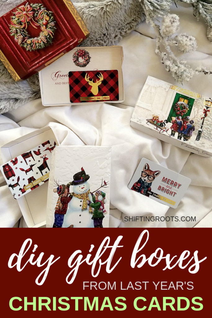 You've got to check out this neat way to upcycle last year's Christmas cards!  You can DIY your own gift card holder with this simple recycled craft.  So easy even your kids can do it! #Christmas #giftcard #christmascard #upcycle #recycle