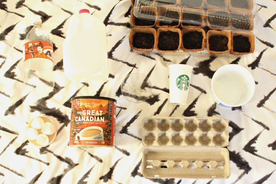 Upcycle these 10 common household items to save money gardening this spring. Soda bottles, plastic containers, egg cartons and more make creative mini-greenhouses, seed starting containers, and tomato cage reinforcements. Your wallet will love these creative garden recycling ideas. #gardening #savingmoney #frugalliving #upcycle #recycle #compost #zerowaste #seedstarting #staringseeds