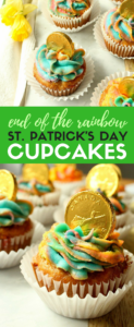 Calling all Leprechauns! You'll love these easy to make St. Patrick's Day rainbow cupcakes. With just a little foodcoloring and creative icing techniques, you can make this dessert for kids, a potluck, or as a special party treat. #stpatricksday #rainbowcupcakes #rainbowicing #easydessert #sweettreats #baking #forkids