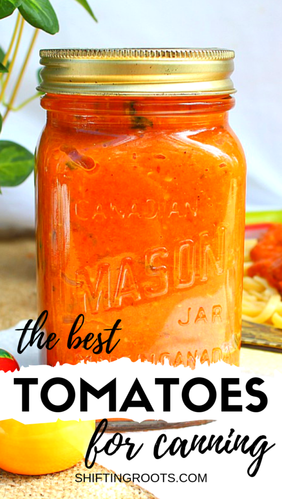 I want to grow tomatoes in my garden from seed, and this post lists the best tomato varieties for canning and preserving recipes--like sauces and salsas. There's even suggestions for easy to grow beginner varieties and more. #canning #tomatoes
