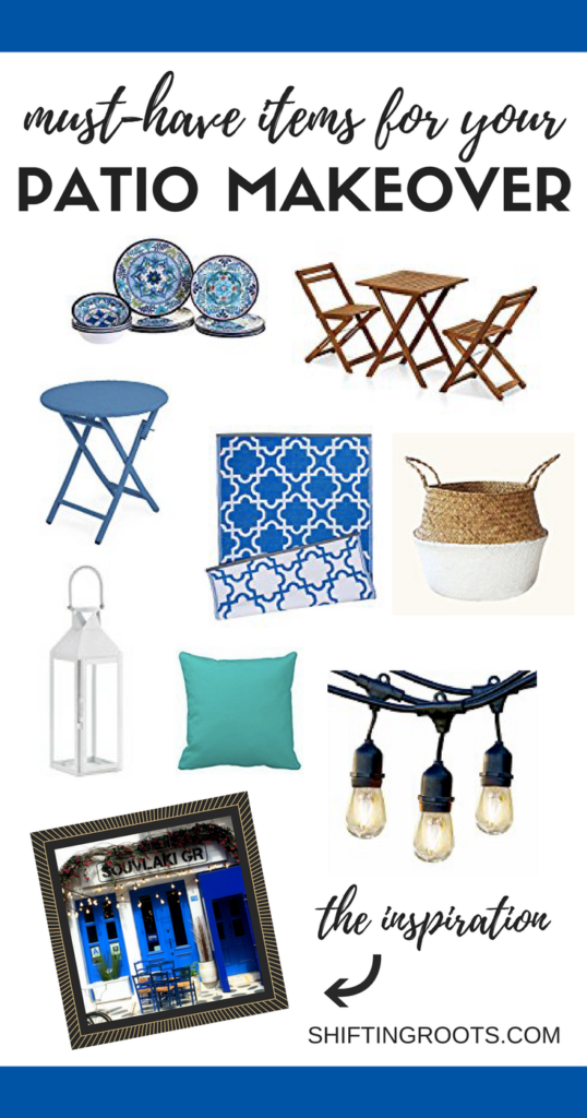 Recently I've been so inspired by blue and white for my small backyard deck.  I'm planning a DIY patio makeover and these are the ideas I have for decorating on a budget.  I can't wait to show you the before and after next post. #patiomakeover #deckmakeover #smallpatio #patiodecor #outdoordecor #smallbackyard #onabudget #backyarddiy #patiodiy