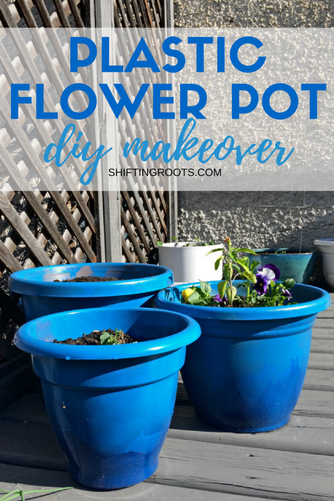 Are your terra cotta or plastic pots looking tired?  Give them an easy and creative makeover with a little bit of spray paint.  Your flower pots (and plants!) will look amazing with this simple DIY idea. #diy #gardendiy #plasticpots #flowerpots #upcyle #containergardening #backyard