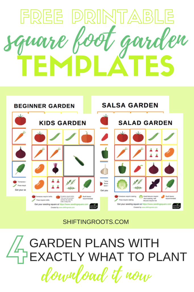 Want to try square foot gardening? I've compiled 4 themed garden plans for beginners. Get the exact layout for your raised bed vegetable garden, that colour co-ordinates with the seeding square. Download your free printable now for your small space garden! #squarefootgardening #raisedbeds #vegetablegardening #seedingsquare #smallspacegardening #gardening