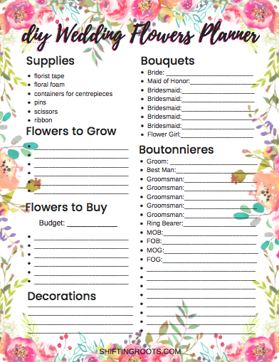 If you're planning on DIY wedding flowers, you need this free printable checklist and planner. No more headaches as you keep everything organized. #diywedding #weddingchecklist #weddingplanner #weddingflowers #frugalwedding