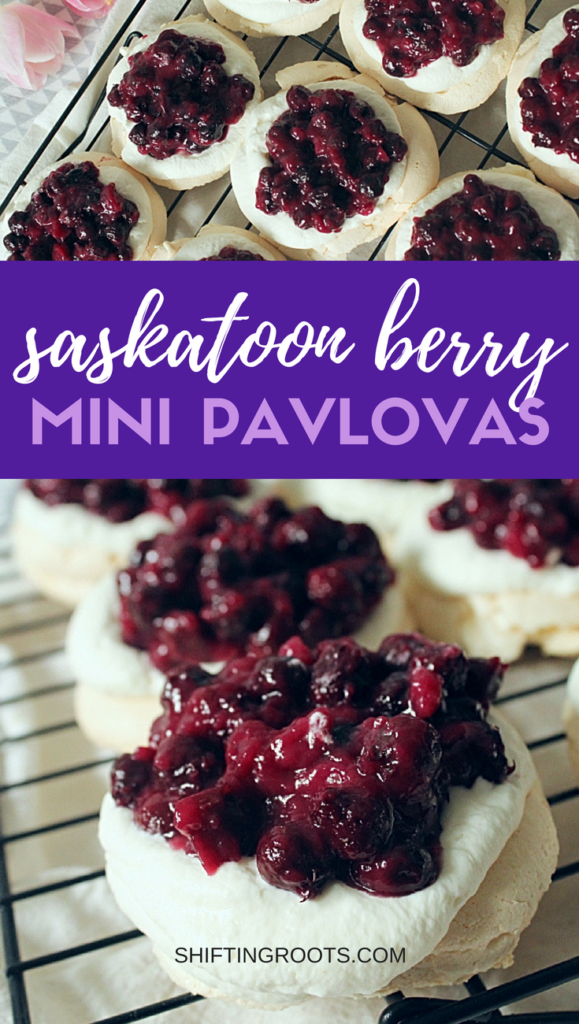 Saskatoon berry mini pavlovas are the best easy summer dessert recipe.  A classic pavlova with whipped sweet cream and saskatoon berry compote.  Delicious with fresh or frozen berries! #saskatoonberry #summerdessertrecipe #easydessertrecipe #pavlova #minpavlova