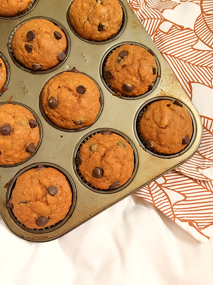 Fall tastes like these easy pumpkin muffins with chocolate chips!  You've got to try this healthy, deliciously moist, from scratch recipe now!  Perfect for Thanksgiving, Halloween, and after school snacks. #pumpkin #chocolatechips #muffin #recipe #fall #autumn #snack #Thanksgiving #Halloween
