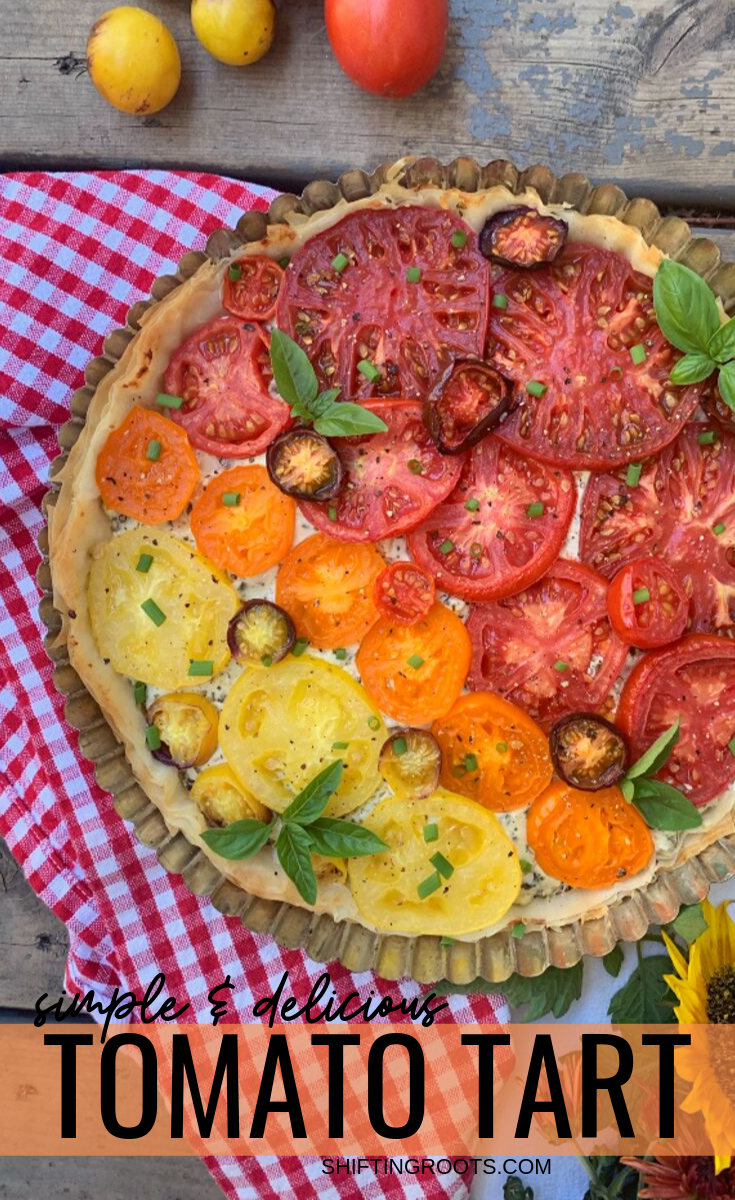 With only 4 ingredients, this stunning tomato tart with phyllo pastry & Boursin cheese is the appetizer recipe to make to impress your guests.  Your fresh garden tomatoes have never looked (or tasted!) so good! #tomato #recipes #appetizer #tart #boursin #phyllo