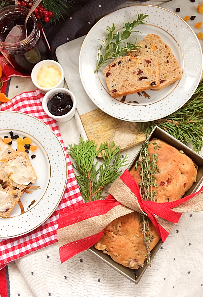 Hate fruitcake?  You'll love this German-Canadian hybrid of hutzelbrot and stollen.  It's a delicious Christmas fruit bread recipe in a loaf pan that your friends and family will actually want to eat this holiday.  Think of it as the best white fruitcake. #fruitbread #christmas #bread #hutzelbrot #stollen