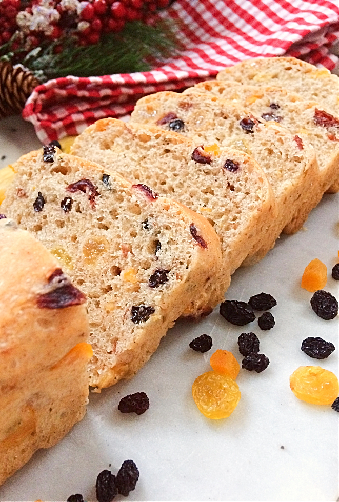Hate fruitcake?  You'll love this German-Canadian hybrid of hutzelbrot and stollen.  It's a delicious Christmas fruit bread recipe in a loaf pan that your friends and family will actually want to eat this holiday. #fruitbread #christmas #bread #hutzelbrot #stollen