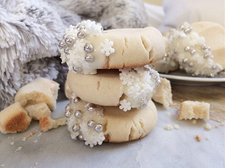 White Chocolate Dipped Snowflake Shortbread