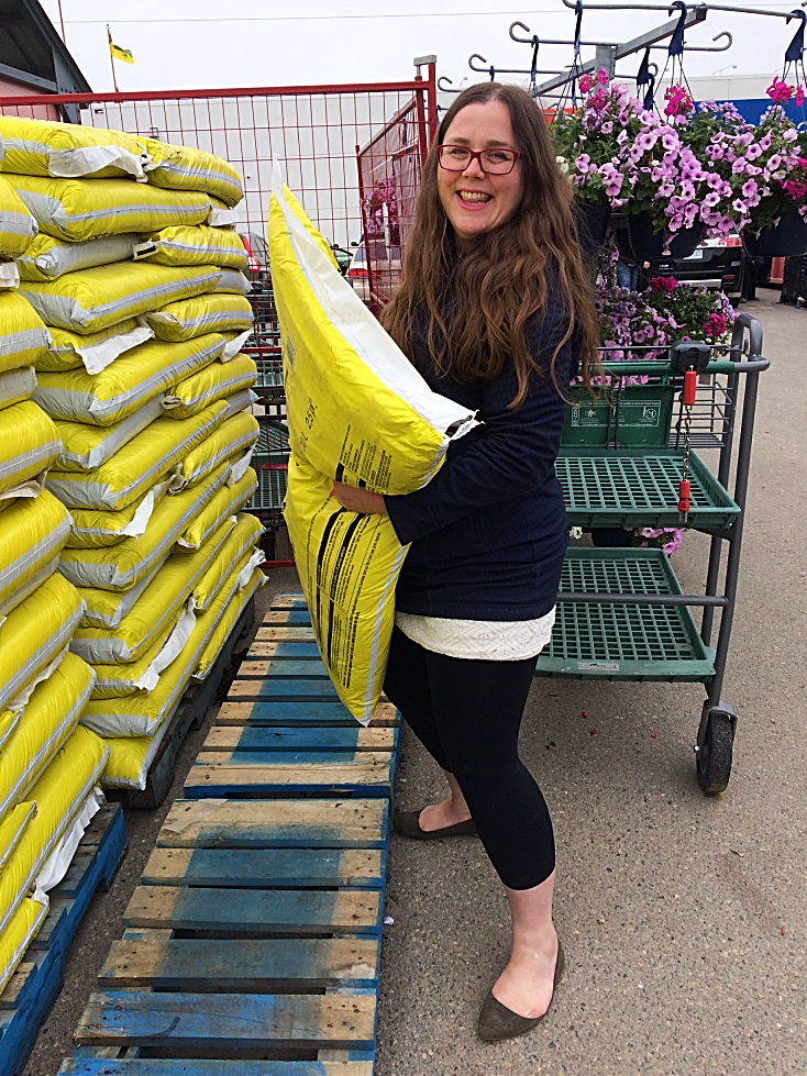 Shopping for soil and other gardening supplies.