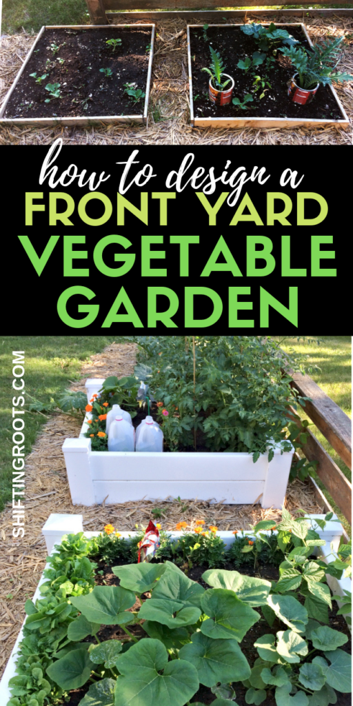 Looking for the next cool front yard landscaping ideas?  How about a front yard vegetable garden?!  Here's how I turned my yard with no curb appeal into a low maintenance raised bed garden.  It's a simple design for a small space that anyone can do! #frontyard #design #vegetablegarden