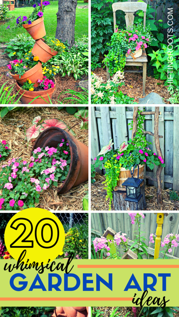 I think whimsical garden art really makes a backyard flower bed.  I love these 20 diy ideas that are either recylcled, upcylcled, or from junk that nobody wants.  I need to do some of these in my outdoor space. #gardenart #whimsical #flowergarden #landscapingideas