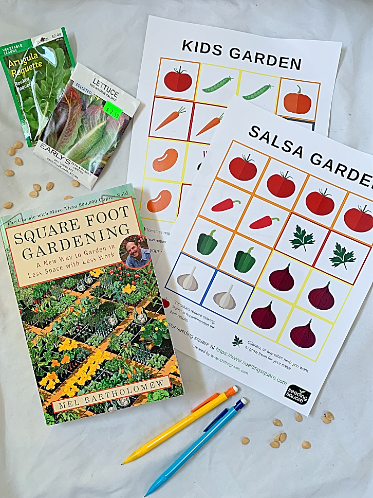 I love to square foot garden, but I never know that vegetable to put where in my raised beds--its so hard to make a plan.  Now I don't have to guess with these free printable square foot gardening templates using the seeding square! #squarefootgarden #seedingsquare #printable #plan #design