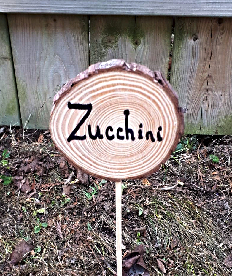 These DIY wooden garden markers would be so cute in my vegetable garden, or even for my outdoor herbs and perennials.  They use dollar store items and would be perfect for a craft with the kids! #plantmarkers #gardenmarkers #vegetable #diy #gardenart