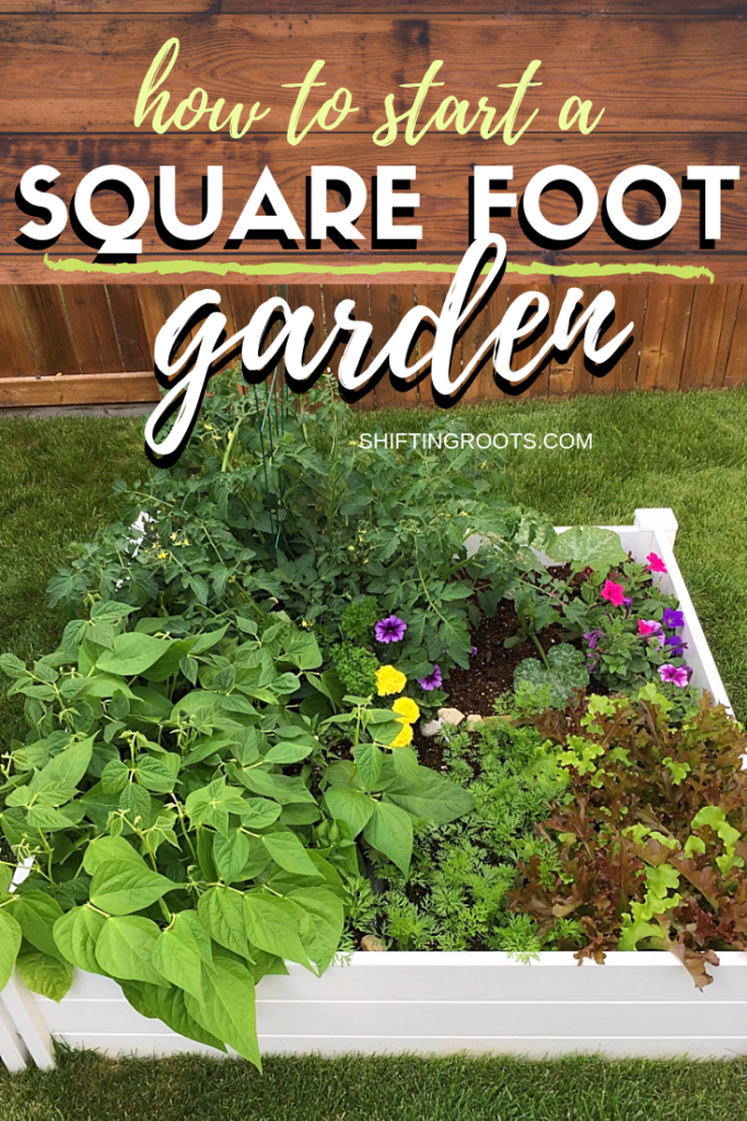 Want to get started square foot gardening?  Here's everything you need to know in a nutshell--raised beds, soil, what vegetables to plant and even some free printable garden plans. #raisedbed #squarefootgarden #vegetable #beginner #plan