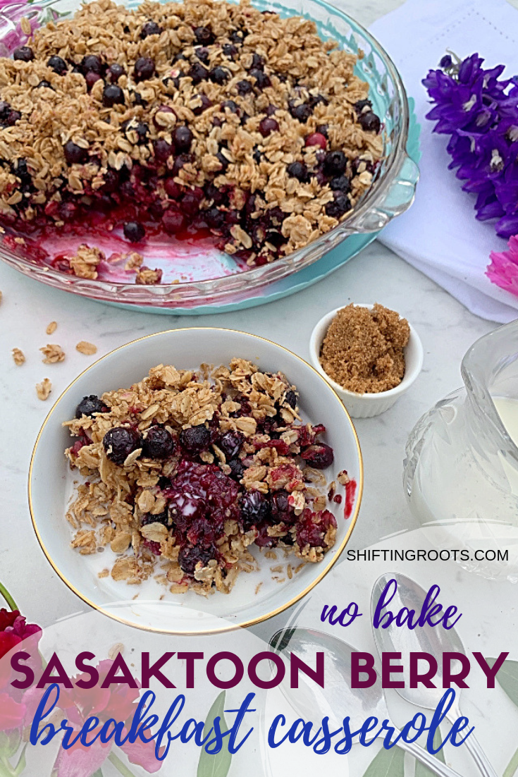 When it's scorching outside you need this no bake Saskatoon berry baked oatmeal breakfast casserole.  It's like a blueberry crisp, but this recipe is low enough in sugar to eat as a healthy breakfast. #saskatoonberry #blueberries #breakfast #recipe