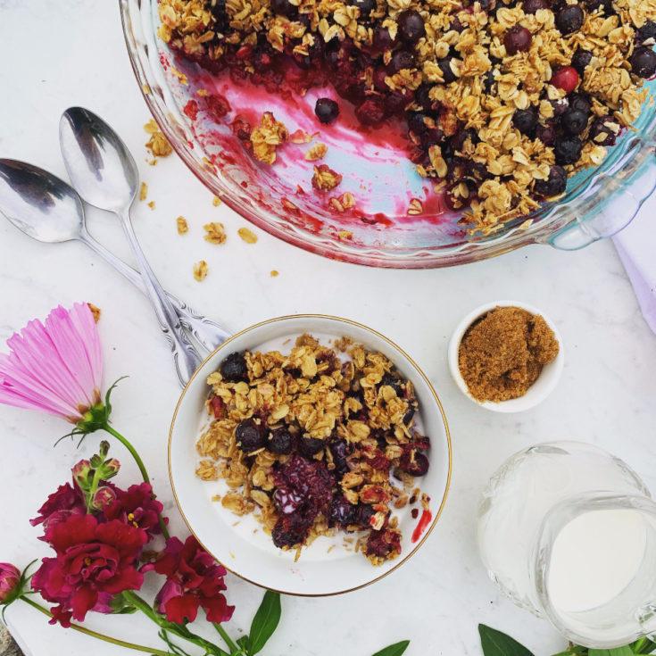 No Bake Saskatoon Berry Baked Oatmeal