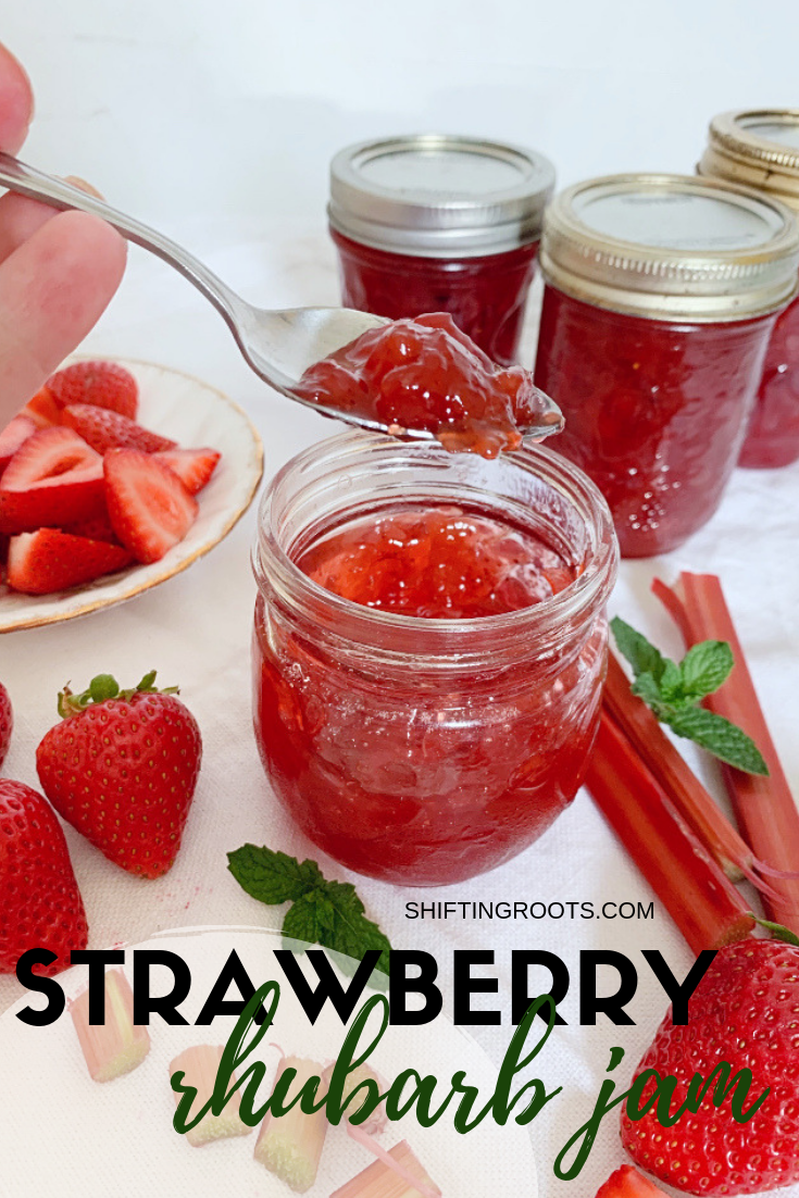 Capture the taste of summer with this easy strawberry rhubarb jam recipe.  With some fruit and pectin you'll be canning in no time. #strawberry #rhubarb #jam #canning #preserving