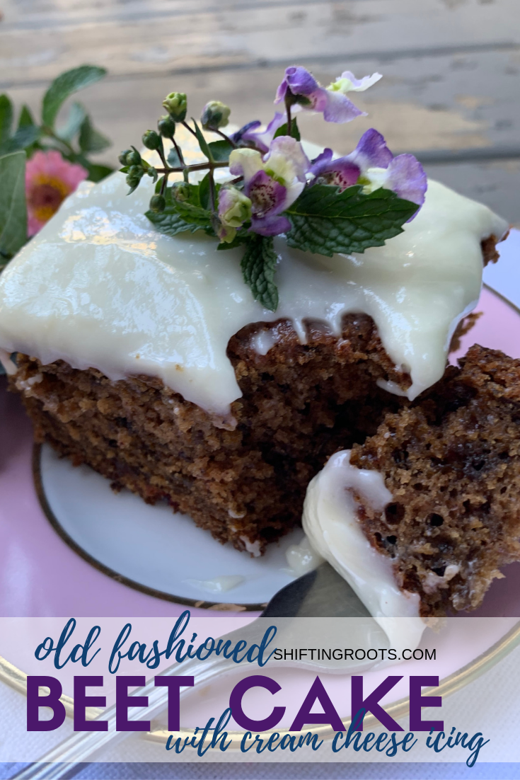 This Old fashioned beet cake recipe is made with a beet puree and has all the goodness of a carrot cake with cream cheese icing.  A must add to your fall baking list. #beets #cake #recipe #creamcheese #icing #frosting