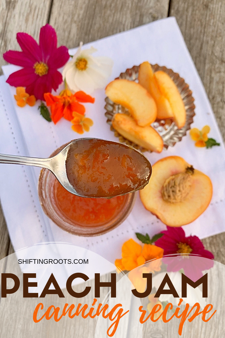 Here's a simple peach jam recipe with cinnamon, pectin, and tons of peachy goodness!  It's an easy canning recipe that even a beginner can do. #canning #peach #jam #waterbath #pectin #cinnamon